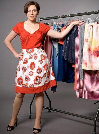Viv in red skirt